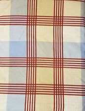 POTTERY BARN KIDS - Plaid Red Blue Beige Plaid Cotton - Flat & Fitted * TWIN