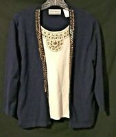 Alfred Dunner Layered Look Top - Blue with White - Size PM Petite Medium - Nice!