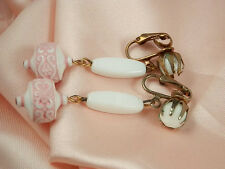 XX Pretty & Showy Vintage 1950s Pink & White Glass Dangle Earrings  100JL4