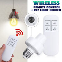 Wireless Remote Control E27 Light Bulb Holder Socket Lamp Base Cap Cover