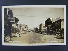 Eldorado Illinois Main Street Mobil Gas Coke Signs Real Photo Postcard RPPC 1944