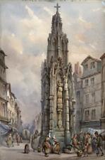 La Croix de St Pierre Ruán pintura en el estilo de Prout-indistintamente Firmado