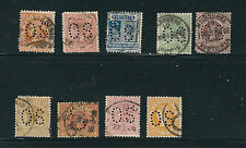 AUSTRALIA VICTORIA 1863-1900 9 different QV issues perforated OS USED