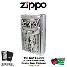 Zippo Bull Skull Emblem Lighter, Genuine Windproof Street Chrome #20286