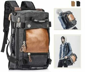 Overmont Vintage Canvas Hiking Backpack mens Daypack Laptop Backpack Large Capac