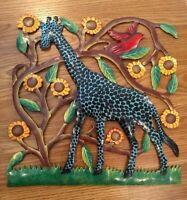Enamel Painted Metal Folk Art Wall Hanging Giraffe Bird Sunflowers Trees EUC