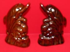 Vintage Brown Dolphin Fish Salt and Pepper Shaker Set  Japan