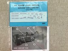 DECAL FOR 1/43 SCALE 2005 RENAULT R25 F1 DIE CAST