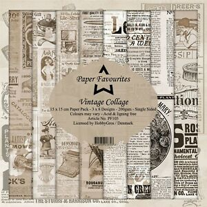 New Dixi Craft  Paper Favourites 15 x 15cm Vintage Collage