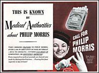 1943 Philip Morris cigarettes medical authorities vintage photo print ad ads77