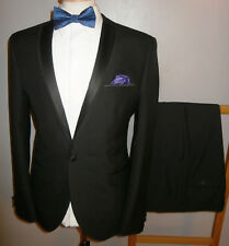 Mens VENTURA 40 R Tuxedo SUIT Black Dinner Evening JACKET TROUSERS 34R 34x32