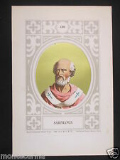 1879 PAPA SABINIANO SABINIANUS ANTICA STAMPA CROMOLITOGRAFIA PAPI POPE D247 m