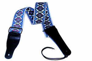 Top Quality woven guitar strap Metal buckles Leather ends - wide and comfortable