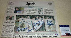 PSA/DNA HULL-ESPOSITO-MIKITA-HALL AUTO CHICAGO STADIUM BLACKHAWKS NEWSPAPER 9869
