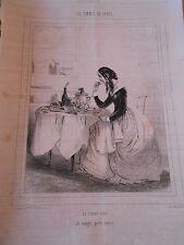 Litho Caricature 19ème - Les Femmes de Paris La femme frèle je mange pour vivre