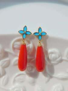 Red Coral Blue & Turquoise 6.78 Ct Drop Dangle Earrings 18K Yellow Gold Over