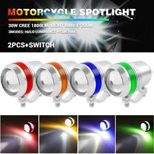 2X Motorcycle LED Headlight Hi/Lo Beam Spot Fog Light Head Lamp Driving Switch