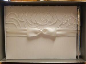 Satin &Swirls White Guest Book W/pen,  Wedding Guest Book W/pen, bridal accesory