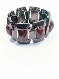 Dark Brown Metallic Red Faceted Rectangle Cabochon Acrylic Panel Stretch Bracele