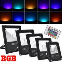 10W 20W 30W 50W 100W RGB LED Flood Light Spotlights Outdoor Security Remote IP65