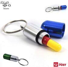 Pill Case Key Chain Mini Aluminium Alloy Pill Case Waterproof Container Keyring