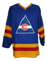 Any Name Number Size Colorado Retro Custom Hockey Jersey Blue