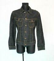 LEE 90s Vintage Denim Jacket Black Dark Wash distressed Trucker Slim Mens SIZE L