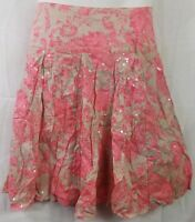 INC Womens Skirt Pink Floral Mini Pleated Flat Front Sequin Flare Zipper Size 6