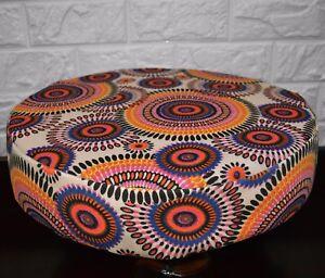 AF258r Orange Pink Flower Cotton Canvas 3D Round Seat Cushion Cover Custom Size