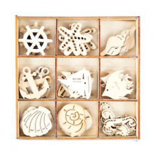 Small OCEAN Lasercut Wood Embellishments - Set of 45 For Crafts