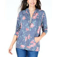 Style Co Womens Size XL Floral Long Sleeve Zip Up Hooded SweatShirt NWT