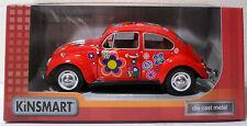KINSMART 2010 VW BEATLE 60's HIPPIE FLOWER DECORATED 5.5'' BIG DIE CAST CAR MISP