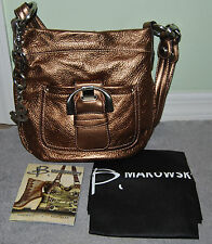 B. MAKOWSKY LEATHER HANDBAG CROSSOVER METALLIC W/DUST COVER/BAG MINTY