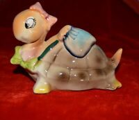 vtg lady Turtle ceramic from Japan bow on head