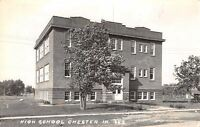 Chester Iowa~Young Tree Before Little High School~Playground~Postcard RPPC 1942