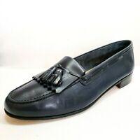 Salvatore Ferragamo Italy Blue Leather Tassel kilt Loafers Men's Size 8.5 EE US