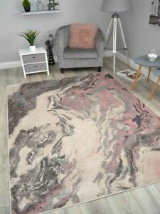 Pink Marble Effect Floor Rugs Modern Abstract Small Extra Large Soft Carpets Mat