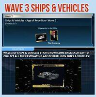SHIPS & VEHICLES Series 3 [ 7 CARD SET ] + AWARD Topps STAR WARS DIGITAL TRADER