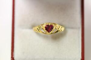 916/22ct sparkling attractive indian gold heart shape Ring *Boxed*