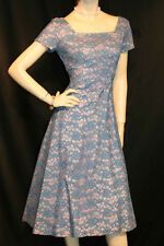 S~M VTG 1950s PARTY DRESS BLUE LACE LAVENDER LINING 50s 60s Rockabilly Pin Up