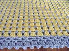 "Handmade NEW  Crochet Afghan Yellow & Blue border 60""X60"" Box  Throw"