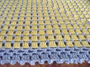 "Handmade NEW  Crochet Afghan Yellow & Blue border 60""X60"" Box  Throw Blanket"
