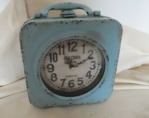 Vintage Style Rustic Metal Distressed Shabby Double Sided Clock.