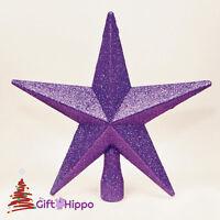 Christmas Decoration - Star Christmas Tree Topper - Purple Glitter Star - 20CM