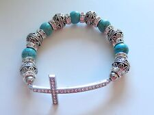 Fashion Bracelet- Cross- Turquoise  & Silver - Beads- sparkly beads