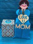 Handmade Needlepoint Plastic Canvas Doll Tissue Box Cover Love you Mom  Blue