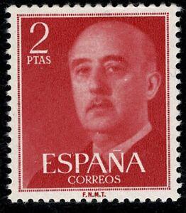 Sello de España 1955 Franco 2 pesetas Edifil 1157 rojo nuevo