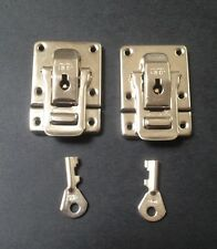 Cheney Nickel Plated Case Catches with keyed lock pair of