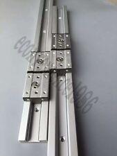 2X SGR15-500mm 15mm Recangle Wheel Liner Rail &4 SGB25UU 4 Wheel BLock Bearing