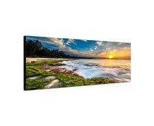 150x50cm Strandlandschaft Panorama Meer Sonnenuntergang Sand Leinwand Bild Sinus